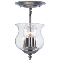 Crystorama 5715-PW Ascott 3 Light 7 inch Pewter Semi Flush Mount Ceiling Light in Pewter (PW)
