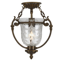 Crystorama Camden 1 Light Semi-Flush Mount in Antique Brass 5771-AB