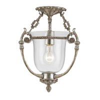 Signature 1 Light 12 inch Antique Silver Semi Flush Mount Ceiling Light