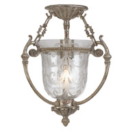 Crystorama Camden 1 Light Semi-Flush Mount in Antique Sliver 5771-AS