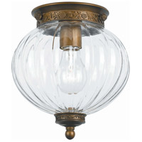 Signature 1 Light 8 inch Antique Brass Flush Mount Ceiling Light