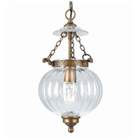 Signature 1 Light 8 inch Antique Brass Pendant Ceiling Light