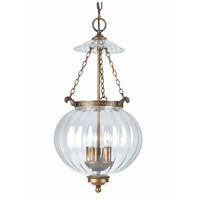 Crystorama 5783-AB Signature 3 Light 12 inch Antique Brass Pendant Ceiling Light