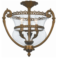 Crystorama Camden 3 Light Semi-Flush Mount in Antique Brass 5791-AB