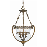 Crystorama Signature 3 Light Pendant in Antique Brass 5793-AB