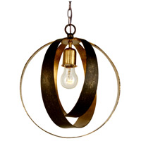 Crystorama Luna 1 Light Pendant in English Bronze/Antique Gold 580-EB-GA