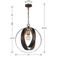 Crystorama 580-EB-GA Luna 1 Light 12 inch English Bronze and Antique Gold Mini Chandelier Ceiling Light alternative photo thumbnail