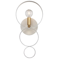 Crystorama 581-MT-GA Luna 1 Light 7 inch Matte White and Antique Gold Wall Sconce Wall Light in Matte White (MT)