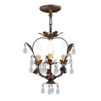 Paris Market 3 Light 12 inch Dark Rust Mini Chandelier Ceiling Light in Dark Rust (DR)