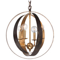 Crystorama Luna 4 Light Chandelier in English Bronze and Antique Gold 584-EB-GA