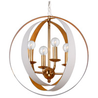 Luna 4 Light 16 inch Matte White Chandelier Ceiling Light in Matte White and Antique Gold (MT-GA)