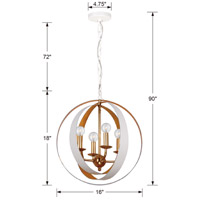 Crystorama 584-MT-GA Luna 4 Light 16 inch Matte White and Antique Gold Mini Chandelier Ceiling Light in Matte White (MT) alternative photo thumbnail
