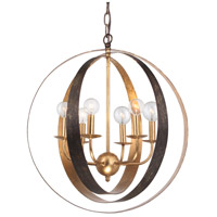 Crystorama Luna 6 Light Pendant in English Bronze/Antique Gold 585-EB-GA