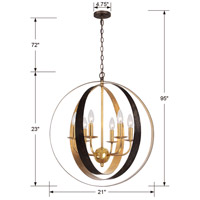 Crystorama 585-EB-GA Luna 6 Light 21 inch English Bronze and Antique Gold Chandelier Ceiling Light in English Bronze and Antique Gold (EB-GA) alternative photo thumbnail