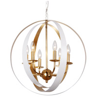 Luna 6 Light 21 inch Matte White and Antique Gold Chandelier Ceiling Light in Matte White (MT)
