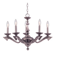 Crystorama Historical Brass 5 Light Chandelier in Pewter 585-PW