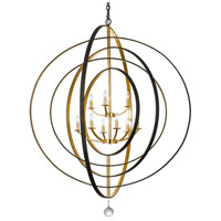 Crystorama 587-EB-GA Luna 9 Light 48 inch English Bronze and Antique Gold Chandelier Ceiling Light in English Bronze and Antique Gold (EB-GA)