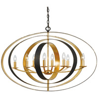 Crystorama 588-EB-GA Luna 8 Light 36 inch English Bronze and Antique Gold Chandelier Ceiling Light in English Bronze and Antique Gold (EB-GA)