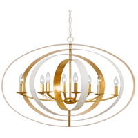 Luna 8 Light 36 inch Matte White and Antique Gold Chandelier Ceiling Light in Matte White and Antique Gold (MT-GA)