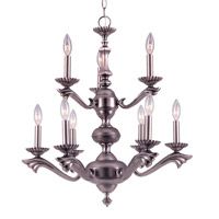 Crystorama Cortland 9 Light Chandelier in Pewter 589-PW