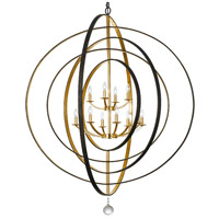 Crystorama Luna 12 Light Chandelier in English Bronze and Antique Gold 590-EB-GA