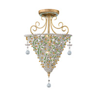 Crystorama Signature 1 Light Semi-Flush Mount in Burnished Gold 5900-BG-PERIDOT