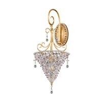 Crystorama Lighting Signature 1 Light Wall Sconce in Burnished Gold & Violet 5901-BG-VIOLET