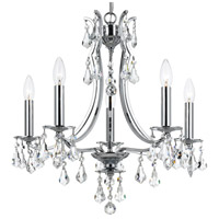 Crystorama 5935-CH-CL-MWP Cedar 5 Light 20 inch Polished Chrome Mini Chandelier Ceiling Light in Clear Hand Cut