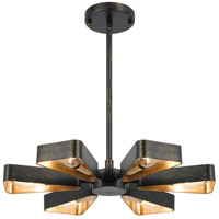 Crystorama 594-EB-GA Luna 6 Light 17 inch English Bronze and Antique Gold Mini Chandelier Ceiling Light