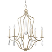 Crystorama 5976-SL Manning 6 Light 26 inch Silver Leaf Chandelier Ceiling Light in Silver Leaf (SL)
