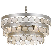Crystorama 6006-SA Coco 6 Light 22 inch Antique Silver Chandelier Ceiling Light