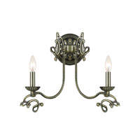 Crystorama Charleston 2 Light Wall Sconce in Antique Brass 6102-AB
