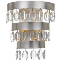 Crystorama 6102-SA Perla 2 Light 10 inch Antique Silver Wall Sconce Wall Light in Antique Silver (SA)