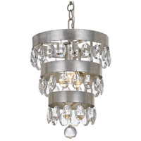 Crystorama 6103-SA Perla 1 Light 10 inch Antique Silver Mini Chandelier Ceiling Light in Antique Silver (SA)
