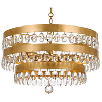 Crystorama 6106-GA Perla 5 Light 22 inch Antique Gold Chandelier Ceiling Light in Antique Gold (GA), Clear Hand Cut, 21.75-in Width