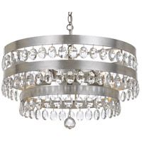 Crystorama 6106-SA Perla 5 Light 22 inch Antique Silver Chandelier Ceiling Light in Antique Silver (SA), 22-in Width, Clear Elliptical Faceted