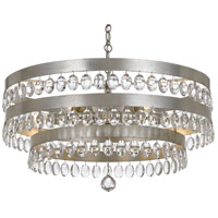 Crystorama 6108-SA Perla 6 Light 26 inch Antique Silver Chandelier Ceiling Light in Antique Silver (SA), 8, Clear Elliptical Faceted