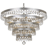 Crystorama 6109-SA Perla 9 Light 32 inch Antique Silver Chandelier Ceiling Light in Antique Silver (SA)