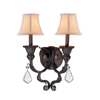Crystorama Winslow 2 Light Wall Sconce in Dark Rust 6602-DR-CL-MWP
