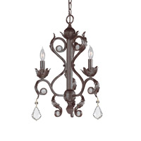 Winslow 3 Light 16 inch Dark Rust Mini Chandelier Ceiling Light in Clear Crystal (CL), Hand Cut, Dark Rust (DR)