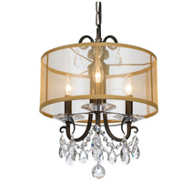Crystorama 6623-EB-CL-MWP Othello 3 Light 15 inch English Bronze Mini Chandelier Ceiling Light in English Bronze (EB), Clear Hand Cut