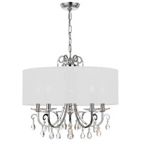 Crystorama 6625-CH-CL-MWP Othello 5 Light 24 inch Polished Chrome Chandelier Ceiling Light in Polished Chrome (CH), Clear Hand Cut, White Silk