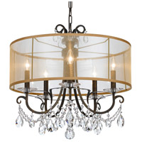 Crystorama 6625-EB-CL-MWP Othello 5 Light 24 inch English Bronze Chandelier Ceiling Light in English Bronze (EB), Clear Hand Cut, Silk