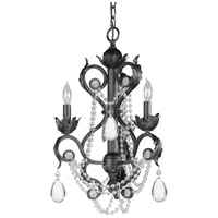 Crystorama Winslow 3 Light Mini Chandelier in Dark Rust with Optical Crystals 6703-DR