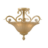 Crystorama Winslow 3 Light Semi-Flush Mount in Champagne with Optical Crystals 6704-CM