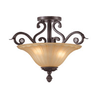Crystorama Winslow 3 Light Semi-Flush Mount in Dark Rust with Optical Crystals 6704-DR