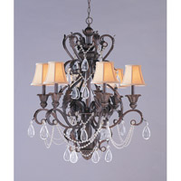Crystorama Winslow 6 Light Chandelier in Dark Rust with Optical Crystals 6706-DR