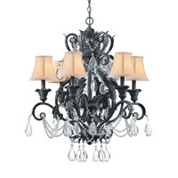 Crystorama Winslow 6 Light Chandelier in Dark Rust with Optical Crystals 6716-DR