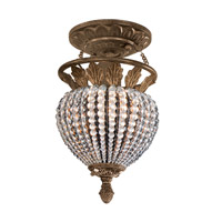 Crystorama Roosevelt 1 Light Semi-Flush Mount in Weathered Patina with Crystal Beads 6720-WP