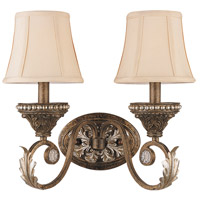Crystorama Roosevelt 2 Light Wall Sconce in Weathered Patina with Crystal Beads 6722-WP